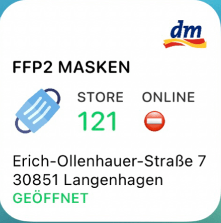 dm FFP2 mask widget